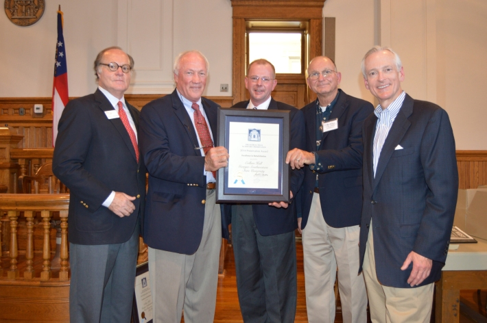 PHOTO ID (from l to r):  Mark McDonald (Georgia Trust President and CEO), Bill Weldon (Allstate Construction, Inc.), Rusty McCall (McCall Architecture), Walter Vidak (Allstate Construction, Inc.), and Bill Peard (Georgia Trust Vice Chairman).