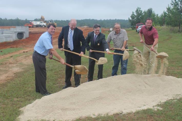 l to r: Jeffery T. Smith, Mayor Pro-Tem City of Sandersville; Rusty McCall, Architect, McCall Architecture; Thomas H. Smith, Sheriff, Washington County; Horace Daniel, Chairman, Washington County Board of Commissioners; Tom Hall, President, Dublin Construction Company